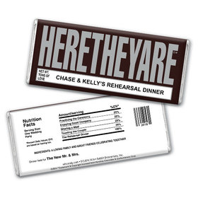"Wedding Rehearsal Dinner Personalized Chocolate Bar HERETHEYARE ""Here They Are"""