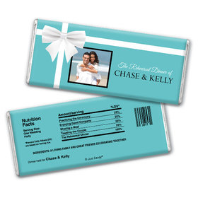 Wedding Rehearsal Dinner Personalized Chocolate Bar Tiffany Style Bow