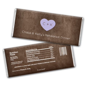 Rehearsal Dinner Personalized Chocolate Bar Monogrammed Heart