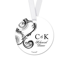 Personalized Initial Rehearsal Dinner Round Favor Gift Tags (20 Pack)