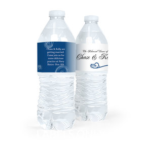 Personalized Rehearsal Dinner Swirled Hearts Water Bottle Sticker Labels (5 Labels)