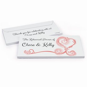 Deluxe Personalized Swirled Hearts Rehearsal Dinner Chocolate Bar in Gift Box