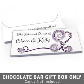 Deluxe Personalized Swirled Hearts Rehearsal Dinner Candy Bar Favor Box
