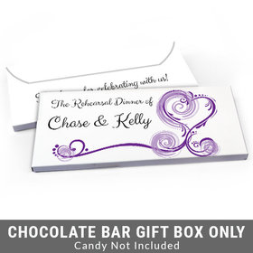 Deluxe Personalized Swirled Hearts Rehearsal Dinner Candy Bar Cover