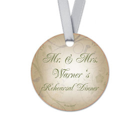 Personalized Ivy Rehearsal Dinner Round Favor Gift Tags (20 Pack)