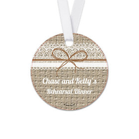 Personalized Burlap & Lace Rehearsal Dinner Round Favor Gift Tags (20 Pack)
