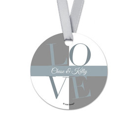 Personalized Pop Art Love Rehearsal Dinner Round Favor Gift Tags (20 Pack)