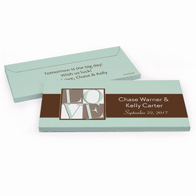 Deluxe Personalized Pop Art Love Square Rehearsal Dinner Chocolate Bar in Gift Box
