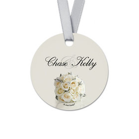 Personalized Bouquet Rehearsal Dinner Round Favor Gift Tags (20 Pack)