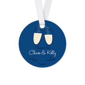 Personalized Cheers Rehearsal Dinner Round Favor Gift Tags (20 Pack)