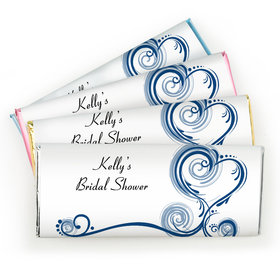 Bridal Shower Favor Personalized Chocolate Bar Swirled Hearts