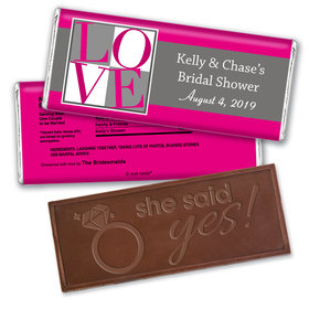Bridal Shower Love Party Favors Personalized Embossed Bar Assembled