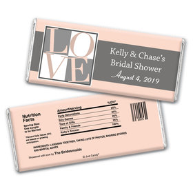 Bridal Shower Favor Personalized Chocolate Bar Pop Art Square Love