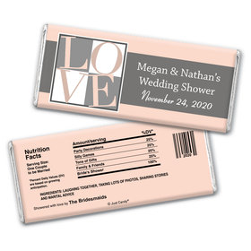 Bridal Shower Love Party Favors Personalized Candy Bar - Wrapper Only