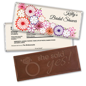 Shower Flowers Bridal Party Favors Personalized Embossed Bar Assembled