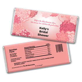 Bridal Shower Favor Personalized Chocolate Bar Pink Flowers