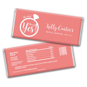 Bridal Shower Favor Personalized Chocolate Bar She Said Yes! Ring