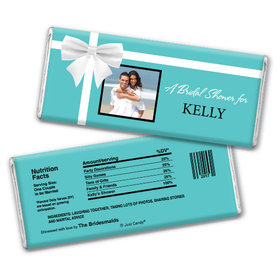 Bridal Shower Favor Personalized Chocolate Bar Tiffany Style Bow