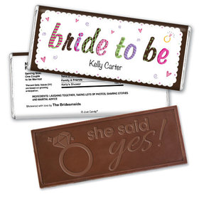 Bride to Be Bridal Shower Favor Personalized Embossed Bar Assembled