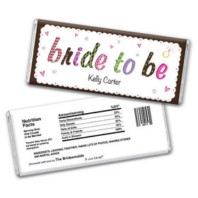 Bridal Shower Favor Personalized Chocolate Bar Colored Bride to Be