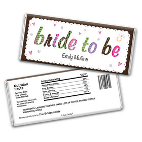 Bride to Be Bridal Shower Favor Personalized Candy Bar - Wrapper Only