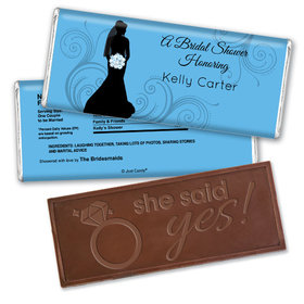 Bride Silhouette Bridal Shower Favors Personalized Embossed Bar Assembled