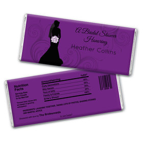 Bride Silhouette Bridal Shower Favors Personalized Candy Bar - Wrapper Only