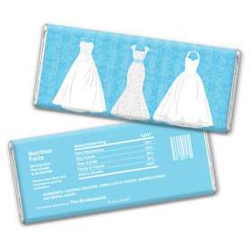 Bridal Shower Favor Personalized Chocolate Bar Wedding Dresses