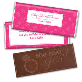 Bridal Shower Favors Personalized Pink Wedding Symbols Embossed Chocolate Bar Favor