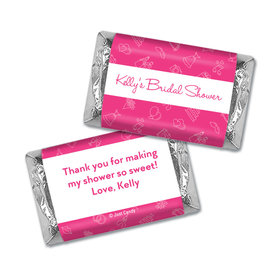 Bridal Shower Favors Personalized Pink Wedding Symbols Hershey's Miniatures Wrappers