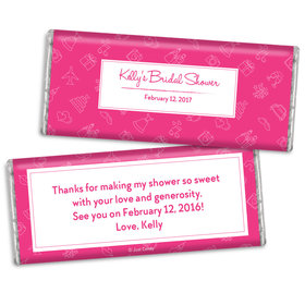 Bridal Shower Favors Personalized Pink Wedding Symbols Chocolate Favor
