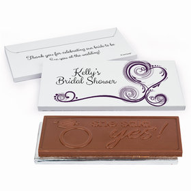 Deluxe Personalized Swirled Hearts Bridal Shower Embossed Chocolate Bar in Gift Box