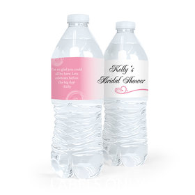 Personalized Bridal Shower Swirled Hearts Water Bottle Sticker Labels (5 Labels)