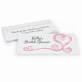 Deluxe Personalized Swirled Hearts Bridal Shower Chocolate Bar in Gift Box
