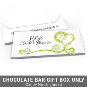 Deluxe Personalized Swirled Hearts Bridal Shower Candy Bar Favor Box