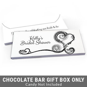 Deluxe Personalized Swirled Hearts Bridal Shower Candy Bar Cover