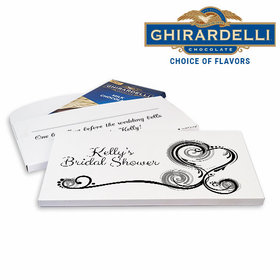 Deluxe Personalized Heart Scroll Bridal Shower Ghirardelli Peppermint Bark Bar in Gift Box (3.5oz)