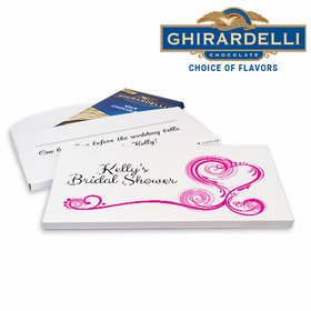 Deluxe Personalized Heart Scroll Bridal Shower Ghirardelli Chocolate Bar in Gift Box