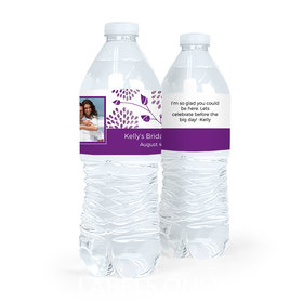 Personalized Bridal Shower Leaves Photo Water Bottle Sticker Labels (5 Labels)