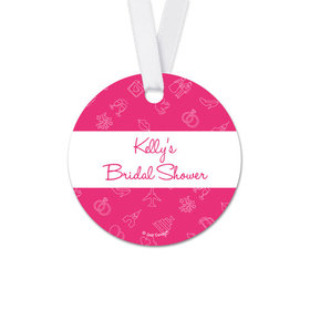 Personalized Patterns Bridal Shower Round Favor Gift Tags (20 Pack)