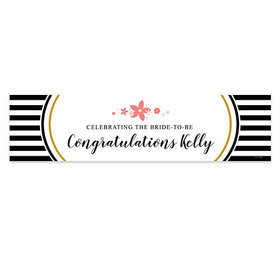Personalized Bridal Shower Stripes & Flowers 5 Ft. Banner