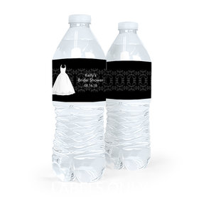Personalized Bride's Dress Bridal Shower Water Bottle Labels (5 Labels)