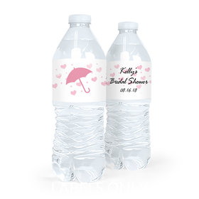 Personalized Hearts Bridal Shower Water Bottle Labels (5 Labels)