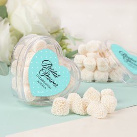 Personalized Bridal Shower Charming Bride Assembled Acrylic Heart Container with Jelly Belly Gumdrops