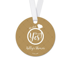 Personalized Diamond Ring Bridal Shower Round Favor Gift Tags (20 Pack)