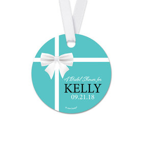 Personalized White Bow Bridal Shower Round Favor Gift Tags (20 Pack)
