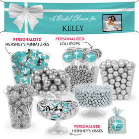Personalized Bridal Shower Tiffany Style Bow Deluxe Candy Buffet