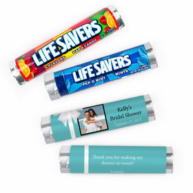 Personalized Bridal Shower Tiffany Style Lifesavers Rolls (20 Rolls)