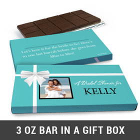 Deluxe Personalized Tiffany Bow Wedding Belgian Chocolate Bar in Gift Box (3oz Bar)