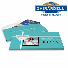 Deluxe Personalized Tiffany Style Bridal Shower Ghirardelli Chocolate Bar in Gift Box